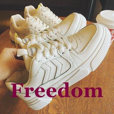 Freedom女鞋小白鞋女2018新款秋冬季正韓學生百搭厚底系帶板鞋透氣休閒運動鞋