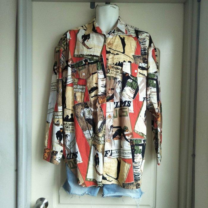 【onsale】日本品牌NICOLE CLUB for men滑雪圖案花襯衫.古著長袖襯衫
