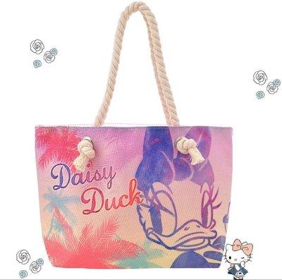 日本迪士尼商店帶回 麻繩肩背寬底海灘袋黛西 唐老鴨 迪士尼 包包 手提袋 防水海灘包 附迪士尼袋子