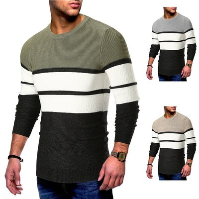 『潮范』 WS10 歐碼新款時尚流行拼接條紋針織衫 圓領長袖男士圖案毛衣 打底衫NRG2537