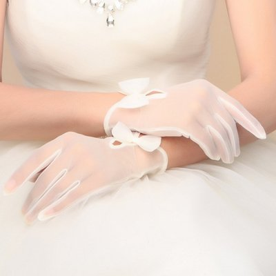 新娘 婚紗 晚宴 禮服 蝴蝶結 蕾絲 短手套 高貴 典雅 禮服   飾品 ~ 9527