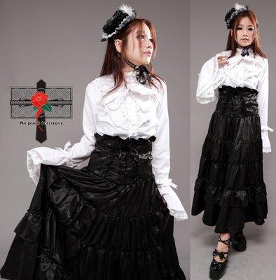 Gothic Lolita 日本視覺蘿莉哥德龐克復古歐洲貴族女爵 MANA 獨家打版搖滾加長馬甲滑布長裙