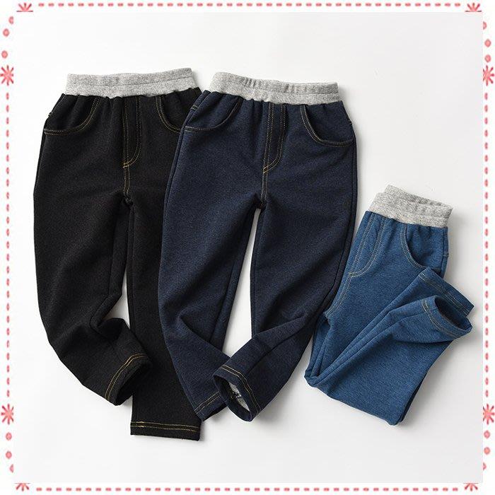 貝克比比屋☆男女童純色仿牛仔褲/兒童休閒褲/彈性牛仔內搭褲*100cm.110cm.120cm.130cm.140cm