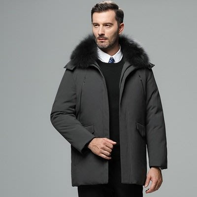 羽絨 外套 連帽夾克-狐狸毛領純色短款男外套4色73un16[獨家進口][米蘭精品]