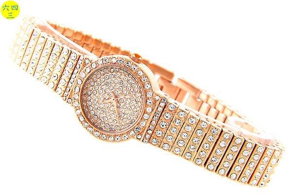 (六四三精品)SKOAL(真品)超美滿天星精手錶.面盤.錶框及錶帶撲滿水鑽!18k玫瑰金式(女