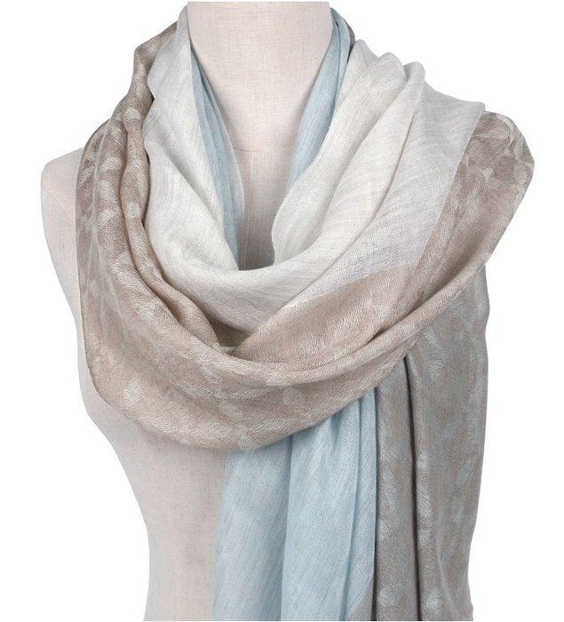 柔軟如雲頂級200支100% Cashmere無染淺咖/白與煙藍多色交織菱格紋浪漫柔情喀什米爾圍巾披肩pashmina