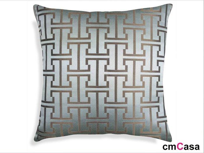 = cmCasa = [3448]東方古典人文設計 銀色H紋緹花抱枕套 多尺寸大器新發行