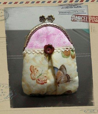 手工拼布包~洋裝小口金包