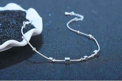 +(直購價非活動價)EOS 時尚精品 腳鏈  瑞典設計師簡約方塊腳鍊 微鑲鋯石輕珠寶網路最低價飾品時尚精品純銀美妝限量款