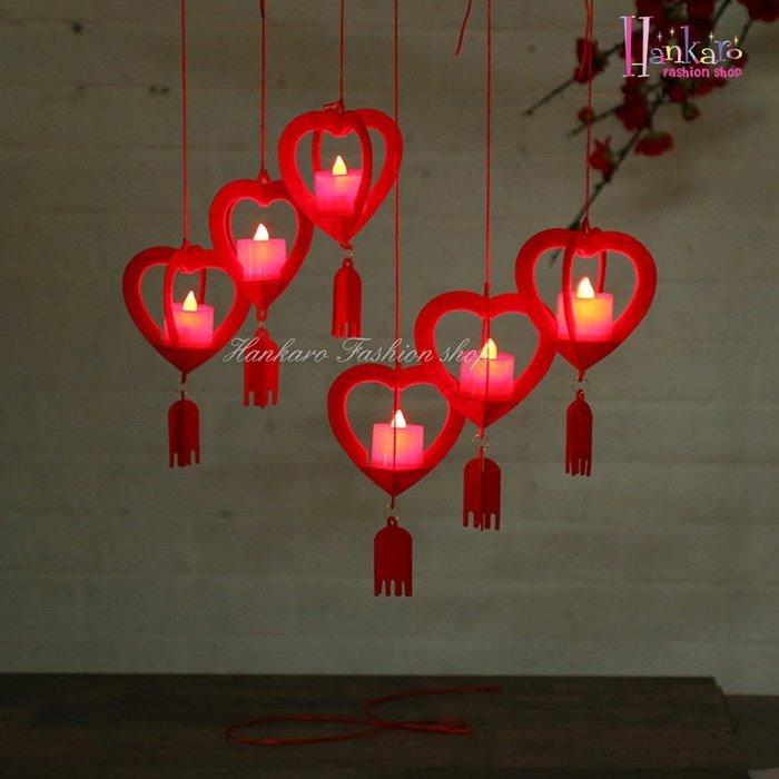 ☆[Hankaro]☆ 浪漫燭光簡約歐式不織布DIY心型燭台吊飾附電子蠟燭(6個一組)
