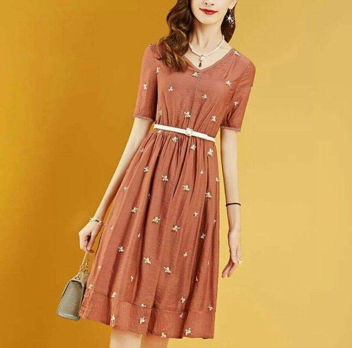 歐美 法國 短袖 洋裝 V領 過膝 透氣 舒適 連身裙 附腰帶 優雅 專櫃款 Me Gusta