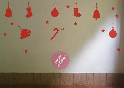 【源遠】聖誕節可愛吊飾【Fe-14】(S) 壁貼 耶誕老公公 麋鹿 禮物 雪人 耶誕節 樹 鈴噹 薑餅人 拐杖糖 雪花