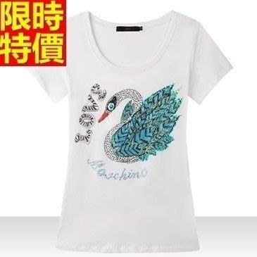 短袖T恤(零碼賠售出清、恕不退換)-亮片天鵝休閒純棉女上衣67z34[獨家進口][米蘭精品]