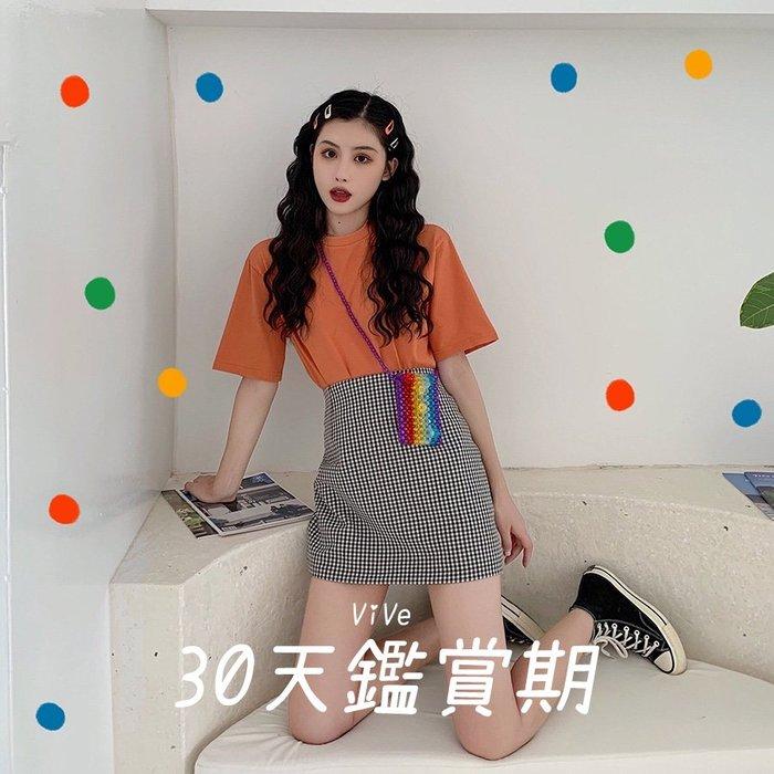 實拍 均碼-M 時尚套裝 橘色 黑白 開叉  橘色 格紋 中長款 半身裙 A6367E