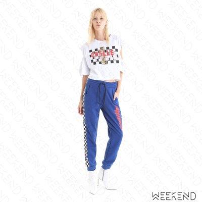 【WEEKEND】 GAELLE BONHEUR Logo 側邊 賽車格紋 棉質 休閒 長褲