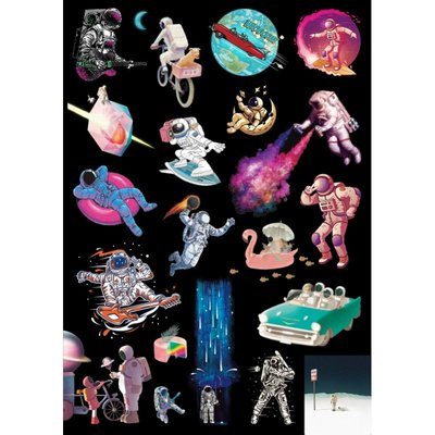 【A131】亮面整版PVC防水貼紙 炫彩太空人貼紙 可愛惡搞貼紙 太陽系貼紙 宇宙銀河貼紙《同價位買4送1》ROLALA