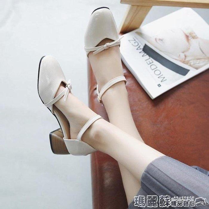 娃娃鞋 夏中空時尚奶奶鞋韓版百搭一字扣粗跟方頭復古瑪麗珍單鞋