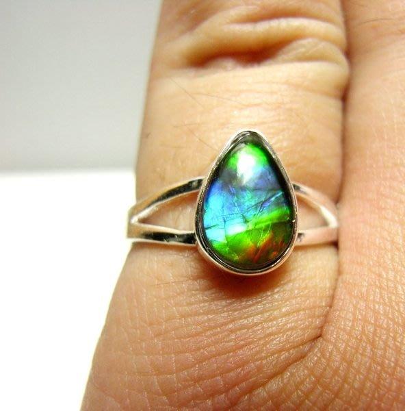 小風鈴~天然極品925銀七彩斑彩石戒指(重2.0g)又名~發達石.麒麟石(帶藍綠紅光)活動式戒圍