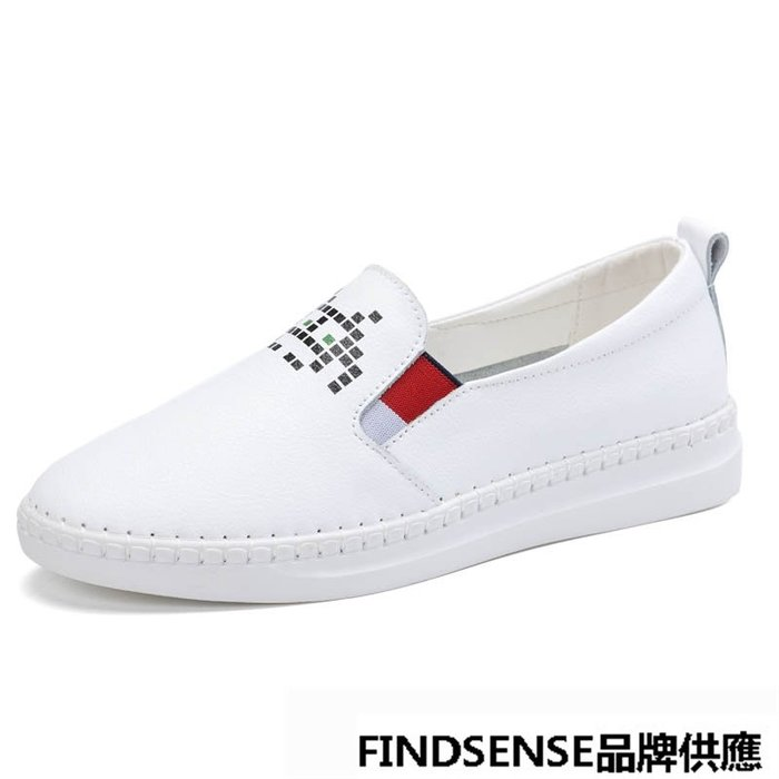 FINDSENSE品牌 四季款 新款 日本 女 高品質 個性 真皮 舒適 懶人一腳蹬 時尚樂福鞋 運動休閒鞋  潮流鞋子
