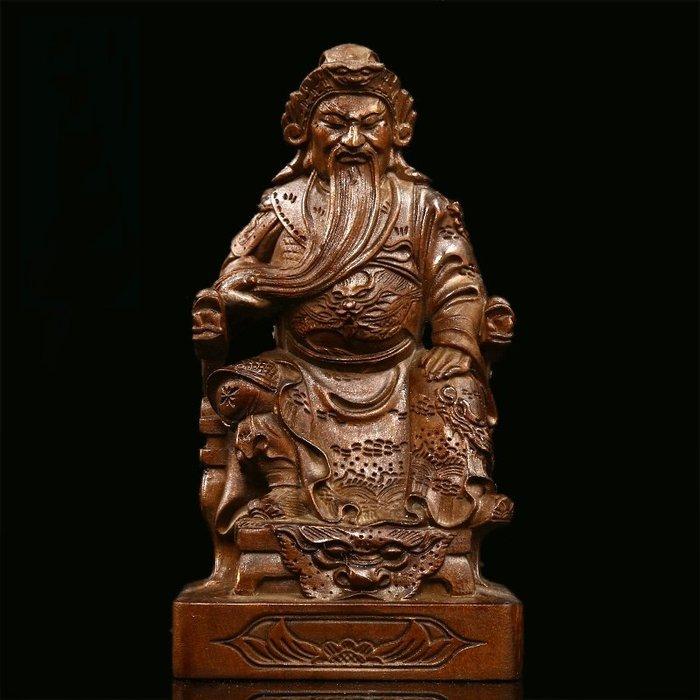 【睿智精品】黃楊木 神像 佛像 關聖帝君關公木雕 義薄雲天 法像莊嚴(GA-4836)