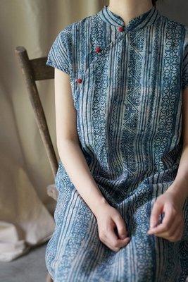 【子芸芳】原創棉麻中式蠟染印花撞色盤扣旗袍顯瘦連衣裙