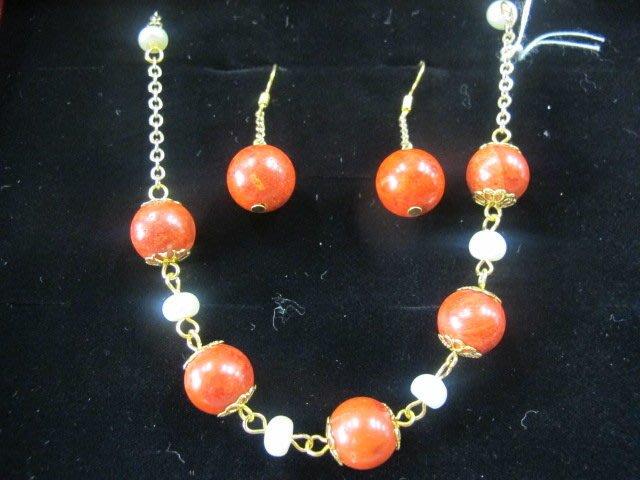 二手舖 NO.742 春天珠寶愛戀珍藏玫瑰紅珊瑚套組 銀k 耳環  天然珍珠項鍊 飾品 原價打75折