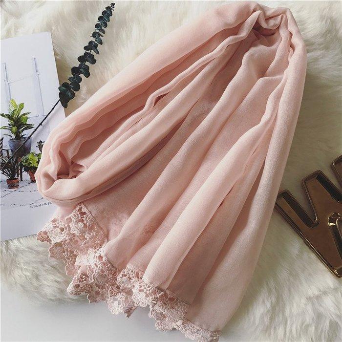 依琳時尚館~*《E237》純色柔粉鈎花蕾絲圍巾 柔棉輕薄隨身可攜帶圍脖 氣質甜美絲巾 蕾絲花邊圍巾