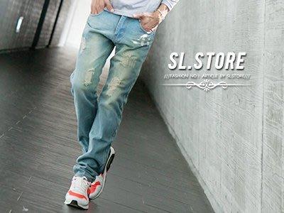SL Store【CJK209】淺色丹寧水洗刷色破壞牛仔褲‧水洗刷色/28/30/32/34