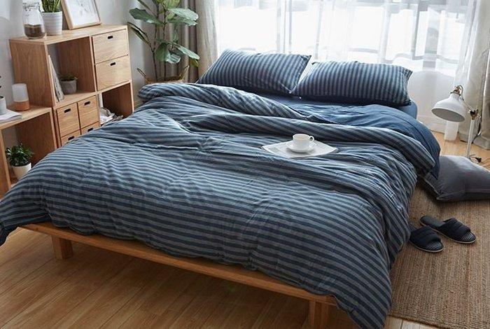 純棉親膚裸睡專用床包組(海藍條紋) 床包 床單 枕頭套 枕頭 床 棉被 被套 寢具 裸睡 純棉 床包組 拖鞋 室內拖鞋