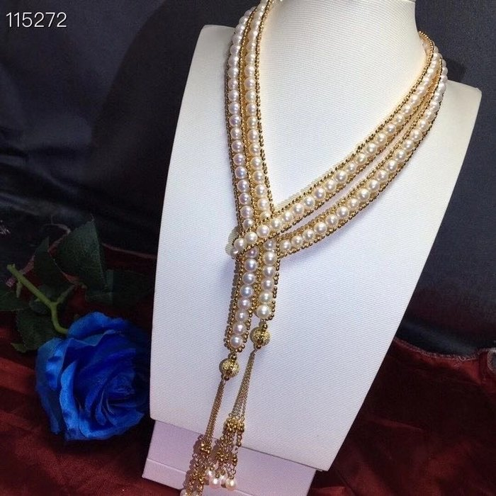(輕舞飛揚)天然珍珠項鍊,6-7mm極光高亮天然珍珠,純手工復古包邊重工長鏈,總長120公分!!️全手工串制近1000顆小金珠(進口配件)手工編織.