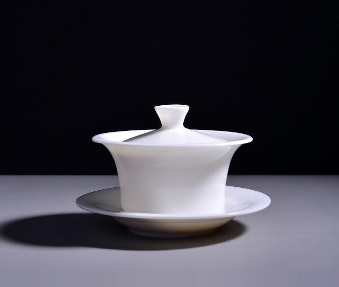 【茶嶺古道】羊脂玉瓷 三件式 青雲蓋碗 / 小 120ml 德化白 純白 白瓷 厚胚 蓋杯 茶杯 三才碗 三才杯
