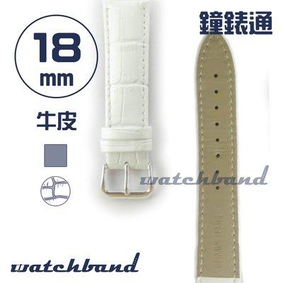 【鐘錶通】C1.81AA《霧面系列》鱷魚格紋-18mm 霧面白┝手錶錶帶/皮帶/牛皮錶帶┥