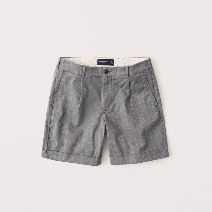 【Abercrombie&Fitch】【A&F】AF男款休閒短褲短版白條灰 F02200915-08