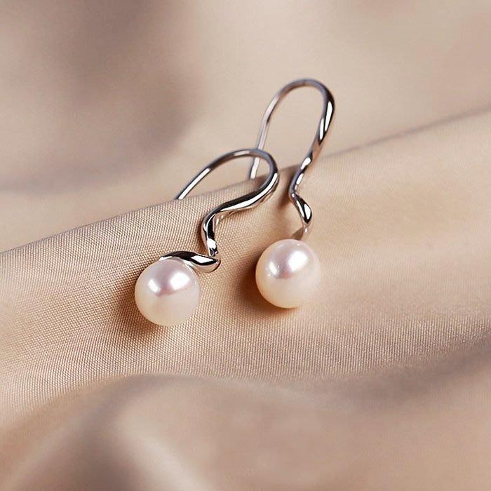 【極簡時尚】天然淡水珍珠耳墜純銀耳環長款耳飾