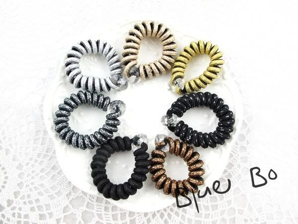 ~*BlueBo*~ 韓國飾品    金蔥電話線髮束  橡皮筋/大腸圈/髮飾/綁綁