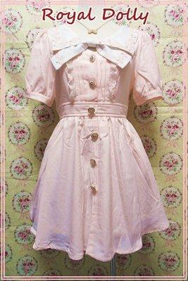 皇家娃娃💖°(2色)蝴蝶結海軍領公主袖洋裝 粉紅色【A71-82181PK】