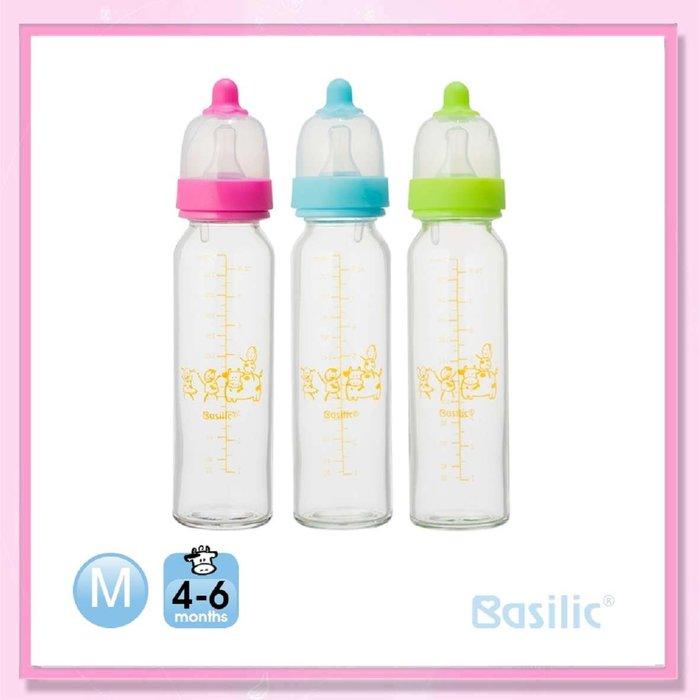 <益嬰房>貝喜力克 一般口徑 防脹氣高耐熱玻璃奶瓶240ml(D228) 標準口 1支入
