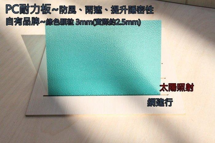 【可刷卡 有店面有保障 】網建行☆ PC 耐力板 PC板 PC採光罩☆【基本型-綠色顆粒3mm 每才48元】~可自取