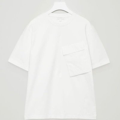 COS T-SHIRT WITH SLANTED POCKET IN WHITE