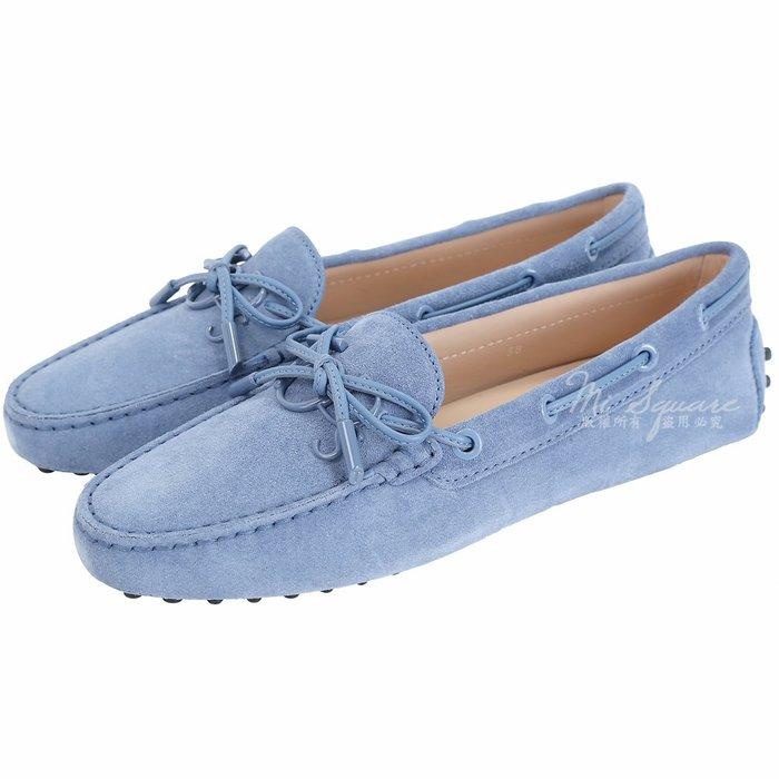 米蘭廣場 TOD'S Gommino 新版同色字母麂皮休閒豆豆鞋(女鞋/雲藍色) 1840082-85