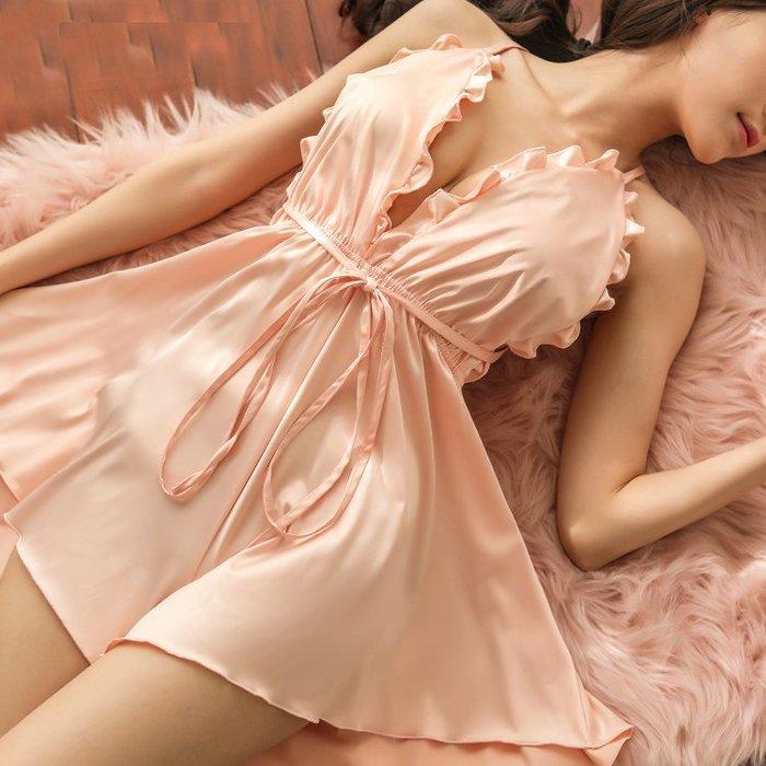 ♥PK漂亮♥ F18108 S~2XL號 深V領滾邊性感情趣火辣調情細肩帶短裙睡衣洋裝 大尺碼 白粉酒紅3色