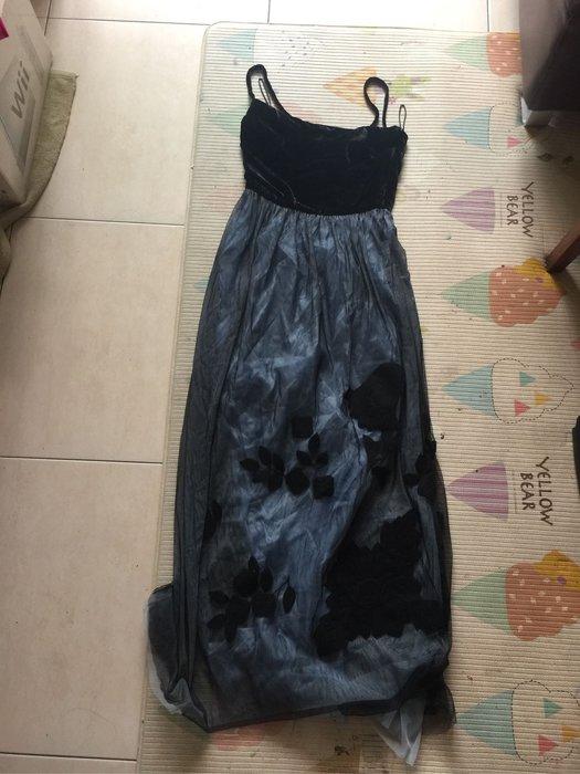 Moschino 深藍絲絨貼花 無袖長洋裝 size 40