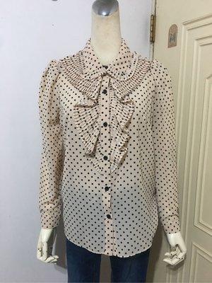 MOMA專櫃品牌杏色綴層次細摺荷葉植絨點點雪紡公主袖襯衫#36(適S~M)*250元直購價*