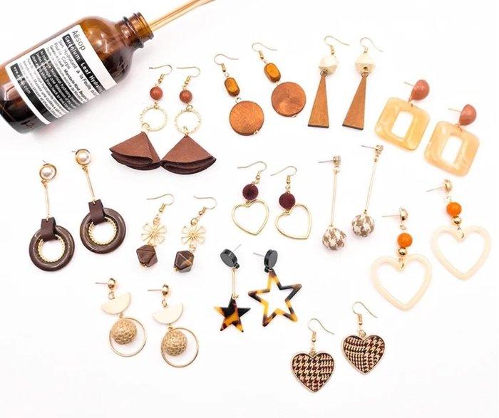diy耳環材料包 緞帶 流蘇 自製耳釘耳飾品耳墜配件 大地色款 送小工具及包裝袋  兩套材料包贈分類盒 22
