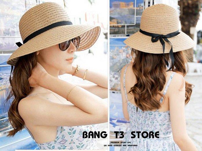 BANG◎草帽 可折疊 夏天 潮小清新 沙灘帽 太陽 防曬 大沿帽 百搭遮陽帽 海邊 魯夫