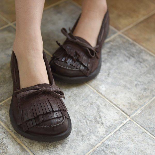 *姑涼家*春新款歐美原創流蘇真皮單鞋女複古圓頭低跟單鞋手工鞋子潮