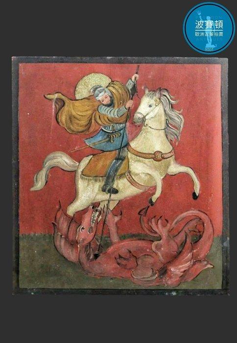 【波賽頓-歐洲古董拍賣】歐洲/西洋古董 法國古董 Saint George Dragon聖喬治屠龍勇者 手繪畫 (尺寸:55×43公分)(年份:1930年)