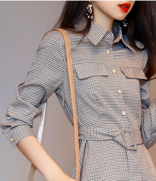 YOHO 長袖洋裝 (HH105563) 優雅好質感復古格子彈力襯衫式連身裙 婚禮 尾牙 S-XL