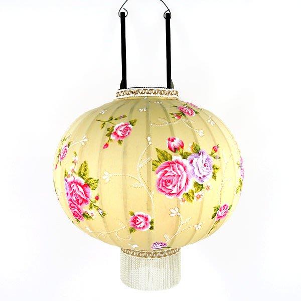 16吋型燈籠 (牡丹花花布)手工彩繪燈籠‧年節裝飾.廟會宮燈.客廳擺設.(高品質)-2色