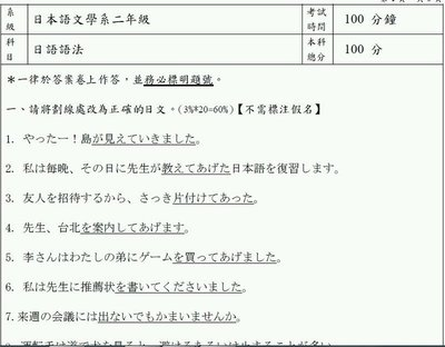 輔仁大學 轉學考 日語系 二年級日語語法+初級日語 103-105年度 雙專業不拆賣。